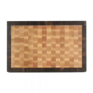 maple-end-grain-board-with-walnut-outside-frame-style-with-rubber-feet-in-seventeen-by-eleven-inches